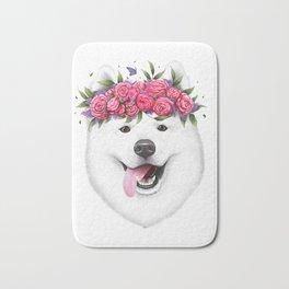 Samoyed with flowers Bath Mat