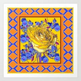 CORAL & BLUE LATTICE & YELLOW ROSE BLUE MORNING GLORY FLOWERS Art Print