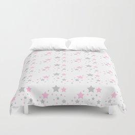 Pink Grey Gray Stars Duvet Cover
