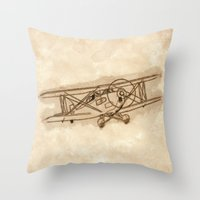 airplane Throw Pillows featuring Airplane by LaDa