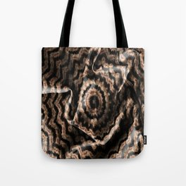 Kaleidoscope Beige Circular Fabric Texture Pattern on Black Tote Bag