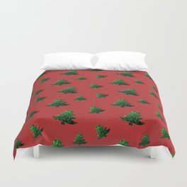 Sparkly Christmas tree green sparkles on red Duvet Cover