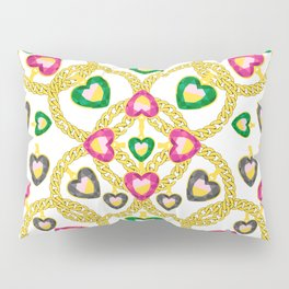 Jewelry Pattern with Gold Chains Pillow Sham