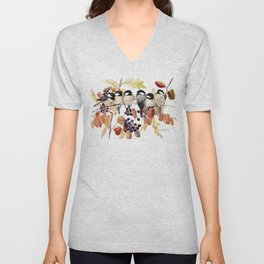 Chickadees in the Fall Unisex V-Neck