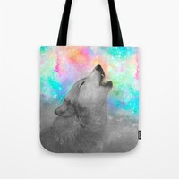 hobbes Tote Bags featuring Breathing Dreams Like Air (Wolf Howl Abstract II: Gray) by soaring anchor designs