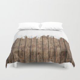 White Abstract Paint on Brown Rustic Striped Wood Duvet Cover