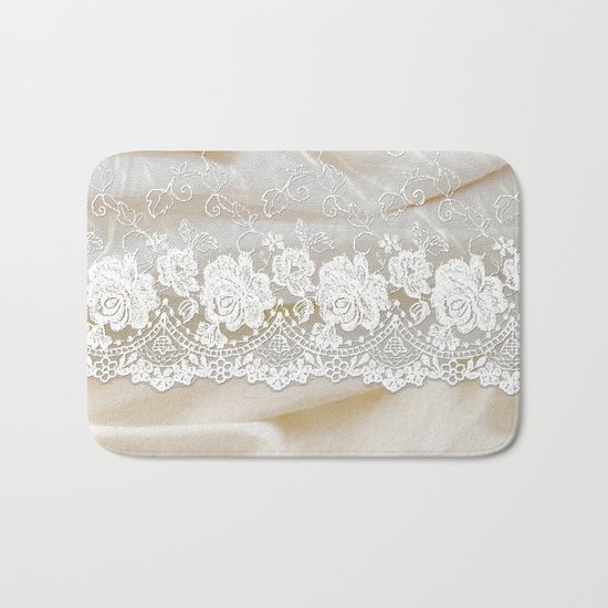 Bride lace - Luxury white floral elegant lace on cream silk fabric on #Society6 Bath Mat