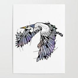 Heron Geometric Bird Poster