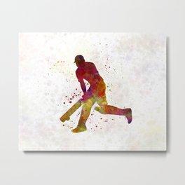 Cricket player batsman silhouette 03 Metal Print