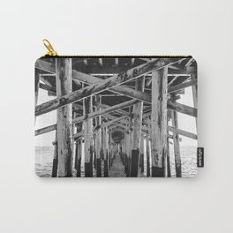 Balboa Pier Print {3 of 3} | Newport Beach Ocean Photography B&W Summer Sun Wave Art Carry-All Pouch