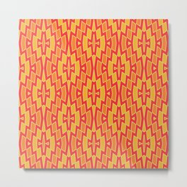 Tribal Diamond Pattern in Red, Orange and Yellow Metal Print