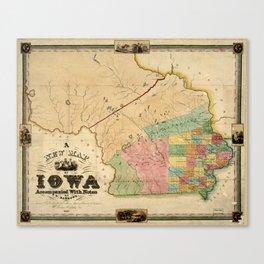 Map of Iowa (1845) Canvas Print