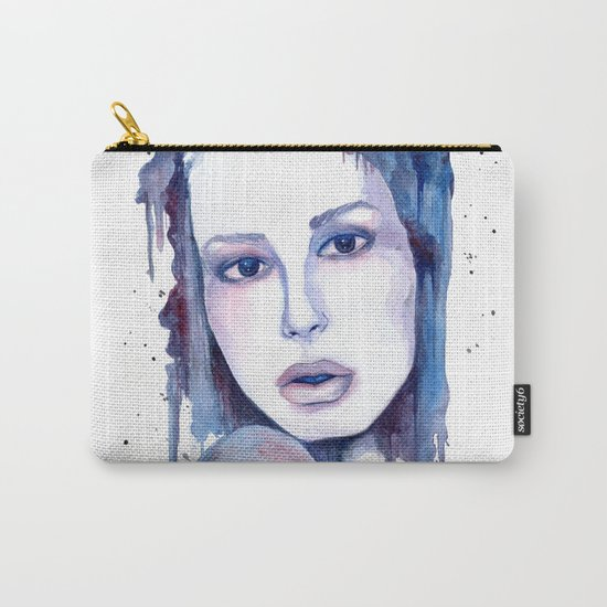 Watercolor - Woman in blue Carry-All Pouch