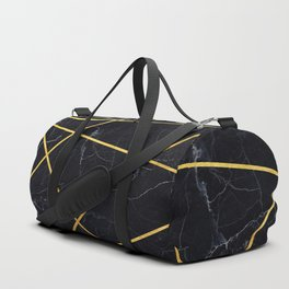 Black marble with gold lines Duffle Bag
