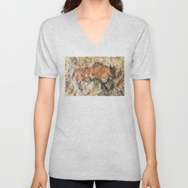 Cave painting in prehistoric style Unisex V-Neck