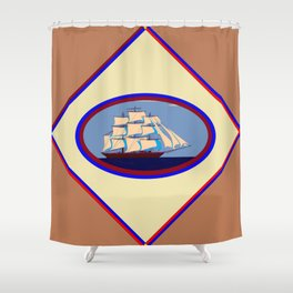 A Nautical Scene with Clipper Ship with Taupe Background Shower Curtain