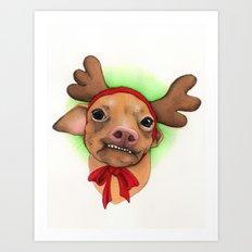 Chihuahua with antlers - Tuna Art Print