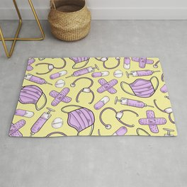 Pastel Medical Pattern - Doctor and Nurse Theme - on Yellow Rug