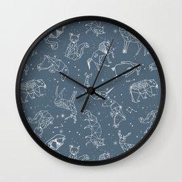 Origami Constellations - geometric animals constellations design - blue Wall Clock
