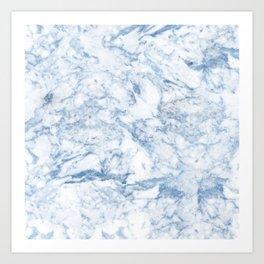 Modern stylish blue white trendy marble pattern Art Print
