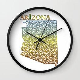 Arizona State Outline Desert Themed Maze & Labyrinth Wall Clock