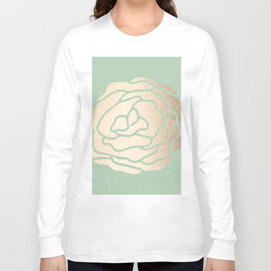 Rose White Gold Sands on Pastel Green Cactus Long Sleeve T-shirt