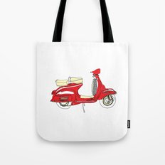 Shiny Red Vespa Scooter Tote Bag