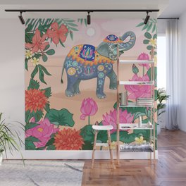 Elephant and Lotus Flowers Wall Mural
