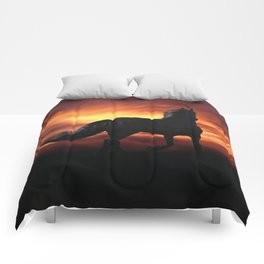 Horse kissed by the wind at sunset Comforters