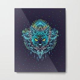 Cat Mandala Metal Print