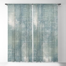 Grunge Abstract Art in Teal, Olive Green and Cream Sheer Curtain