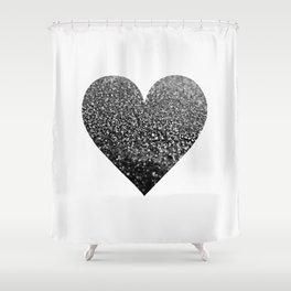 BLACK HEART Shower Curtain