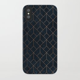 Gold Art deco on Navy ink iPhone Case