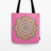 islam Tote Bags featuring Pink Mandala by Mantra Mandala