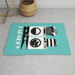Retro Laundry Sign - Turquoise, Black and White Rug