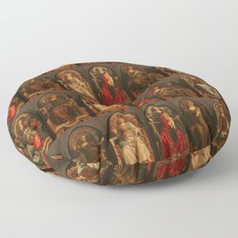 """Sandro Botticelli and Piero del Pollaiolo """"Theological and cardinal virtues"""" Floor Pillow"""