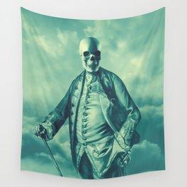 Lord Bonehead VINTAGE GREEN / Skeleton portrait Wall Tapestry