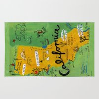 postcard Area & Throw Rugs featuring Postcard from California by Christiane Engel