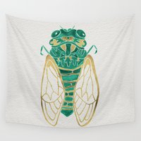 jackalope Wall Tapestries featuring Cicada – Green & Gold by Cat Coquillette