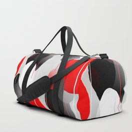 Modern Anxiety Abstract - Red, Black, Gray Duffle Bag