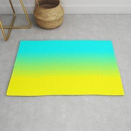 Neon Aqua and Neon Yellow Ombré  Shade Color Fade Rug