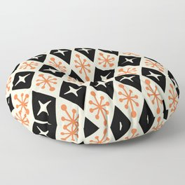 Mid Century Modern Atomic Triangle Pattern 922 Black and Orange Floor Pillow