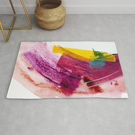 Pink Lemonade [2]: a minimal, colorful abstract mixed media with bold strokes of pinks, and yellow Rug
