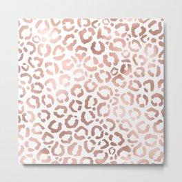 Chic Rose Gold Leopard Cheetah Animal Print Metal Print