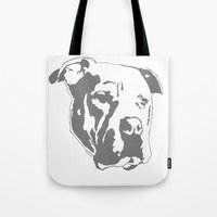 pitbull Tote Bags featuring COACH - GREY by Kirk Scott
