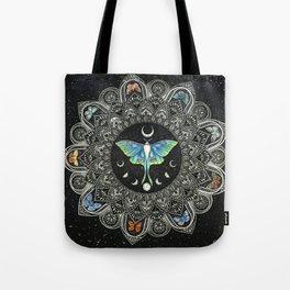 Lunar Moth Mandala with Background Tote Bag