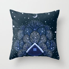 Tiny House - Snowy Night Throw Pillow