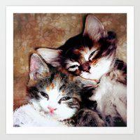 best friends Art Prints featuring best friends by Lydia Cheval