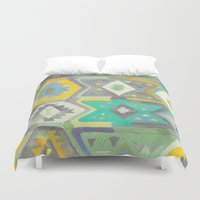 kilim Duvet Covers featuring Kilim Me Softly in Turquoise by Bee&Lotus