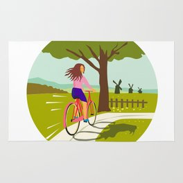 Girl Riding Bicycle Up Tree Circle Retro Rug